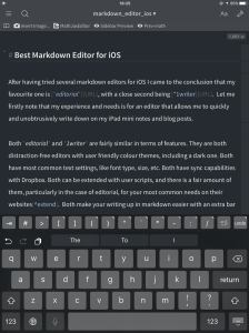 editorial in edit mode showing the extra keyboard bar and the workflow bar on the top, previewing the document is only a swipe-left gesture away
